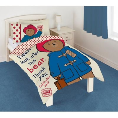 Paddington Bear 'Look After' Panel Single Bed Duvet Quilt Cover Set