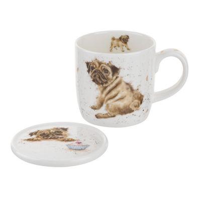 Royal Worcester Wrendale Pug Love Dog Mug and Coaster Set