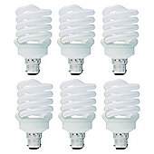 6 x TCP 11w B22 Bayonet Cap T3 Spiral Warm White Light Bulb