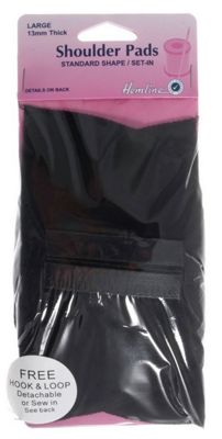 Hemline Shoulder Pads (Black/Covered/Large/Set In-Standard Shape)