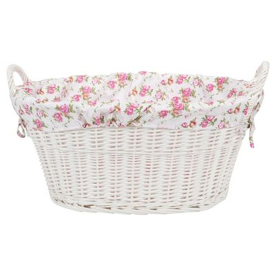 Tesco White Wicker Lined Laundry Basket