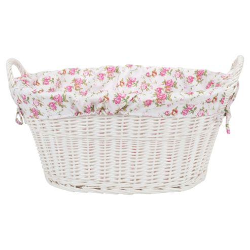 Tesco White Wicker Lined Laundry Basket