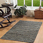 Homescapes Denver Leather Woven Rug Grey, 150 x 240 cm