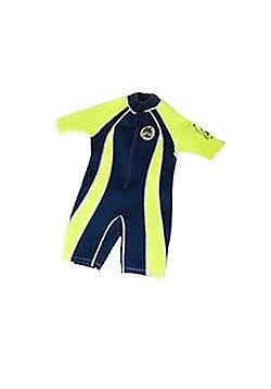 Jakabel Junior Boys Front Zip Shorty Wetsuit Navy/Neon - Blue