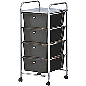 VonHaus 4 Drawer Mobile Storage Trolley for Home & Office in Black