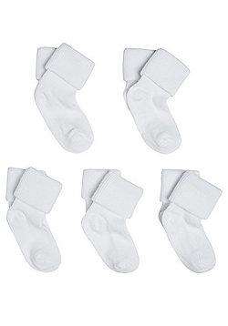 F&F 5 Pair Pack of Ankle Socks - White