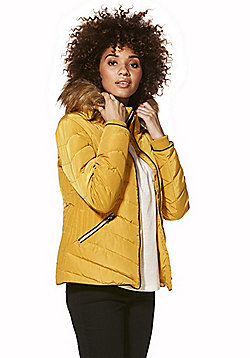 F&F Faux Fur Trim Shower Resistant Padded Jacket - Mustard