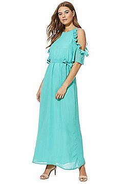 Mela London Frill Trim Cold Shoulder Maxi Dress - Green