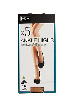 F&F 5 Pack of 15 Denier Ankle Highs - Natural