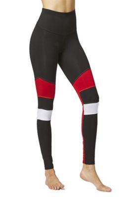 Cairo Block Panel Fitness Leggings Black-Red-White 2X
