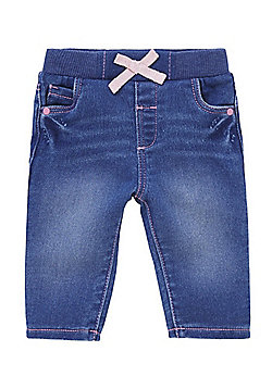 F&F Ribbed Waist Bow Jeans - Blue
