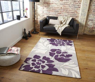 Oriental Carpets & Rugs Noble House 1033L Stone/Purple Rug - 90cm x 150cm