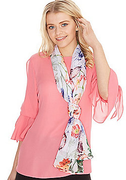 F&F Floral and Butterfly Print Scarf - Multi