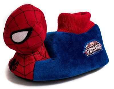 Boys Girls Spiderman Slippers Red And Blue Children Kids Novelty 3D Plush Marvel-UK 6.5