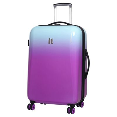 buy it luggage ombre medium 8 wheel lilac aqua suitcase from our hard suitcases range tesco. Black Bedroom Furniture Sets. Home Design Ideas