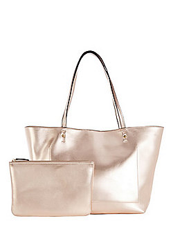 F&F Metallic Tote Bag with Pouch