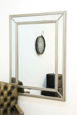 Large Silver Beaded Edge Modern Venetian Wall Mirror 3ft11 X 2ft11 120cm x 90cm