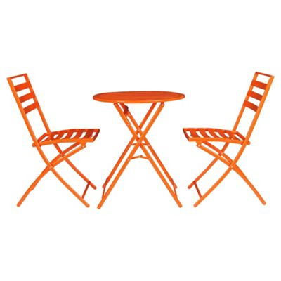 Milan Steel Folding Garden Bistro Set, Orange
