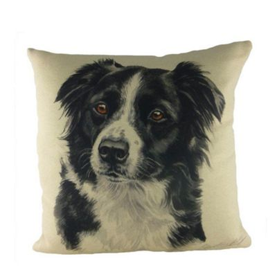 Evans Lichfield WaggyDogz Border Collie Filled Cushion with Country Check