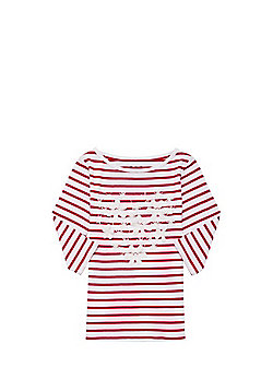 F&F Embroidered Striped 3/4 Length Sleeve T-Shirt - Red & White