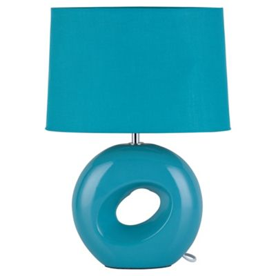 Tesco Lighting Calypso Ceramic Table Lamp, Soft Teal