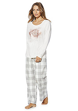 F&F Sparkle Checked Pyjamas - Cream