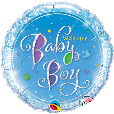 Welcome Baby Boy Stars Balloon - 18 inch Foil