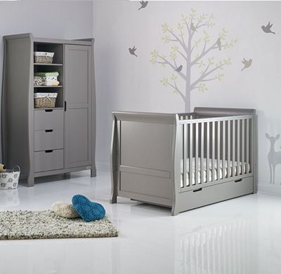 Obaby Stamford 2 Piece Cot Bed/Wardrobe Nursery Room Set - Taupe Grey