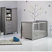 Obaby Stamford 2 Piece Cot Bed/Wardrobe Nursery Room Set - Taupe Grey