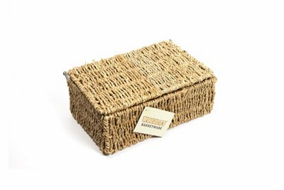 Woodluv Seagrass Storage Basket With Lid - Small