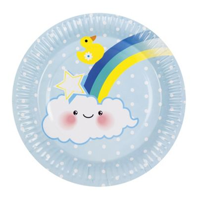 Boland Baby Shower Blue Baby Boy 6 Party Plates With Rainbow & Clouds 23cm