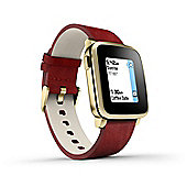 Pebble Time Steel Smartwatch E-paper Gold Display with Red Leather - 511-00036