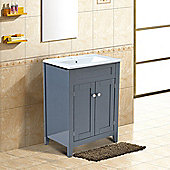 Homcom Under Sink Bathroom Storage Cabinet Vanity Unit Wooden Cupboard Basin (Grey)