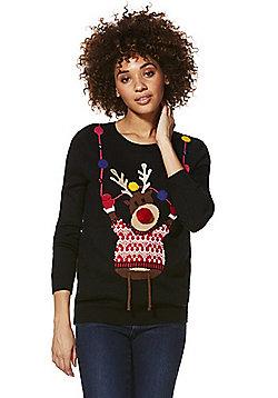 F&F Light-Up Reindeer Christmas Jumper - Black
