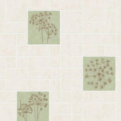 Contour Parsley Tile Effect Kitchen Bathroom Cream/Green Wallpaper