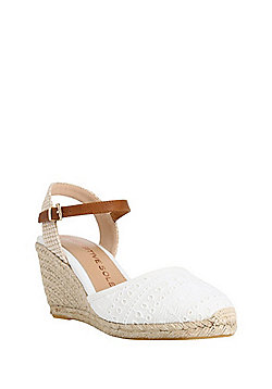 F&F Sensitive Sole Closed Toe Wedge Espadrilles - White