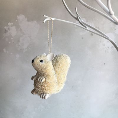 White Bristle Squirrel Decoration