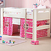 Happy Beds Pluto Wood Kids Midsleeper Bed with Starry Pink Tent and Open Coil Spring Mattress - White and Pink - 3ft Single