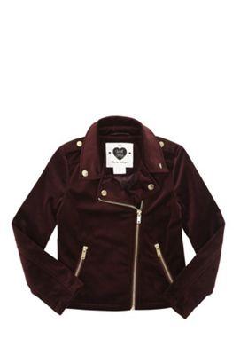 F&F Velvet Biker Jacket Burgundy 10-11 years