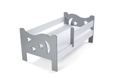 Camila Moon & Stars Toddler Bed Grey & White & Safety Foam Mattress