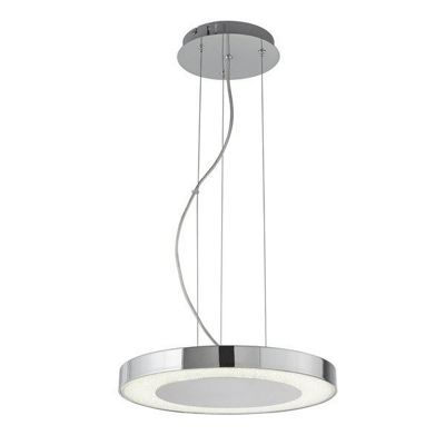 LEXI LED DISC CEILING PENDANT (35cm DIA), CHROME, CRUSHED ICE EFFECT DECO