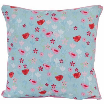 Homescapes Cotton Birds and Flower Cushion Cover, 60 x 60 cm