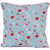 Homescapes Cotton Birds and Flower Scatter Cushion, 60 x 60 cm