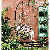 Charles Bentley Floral Rattan Swing Chair in Natural Sand