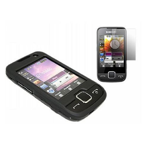 iTALKonline Black Hybrid Case, LCD Screen protector and Cleaning Cloth - For Samsung S5600 Preston