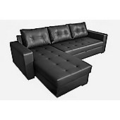 Tommy Corner Sofa Bed Faux Leather - Black