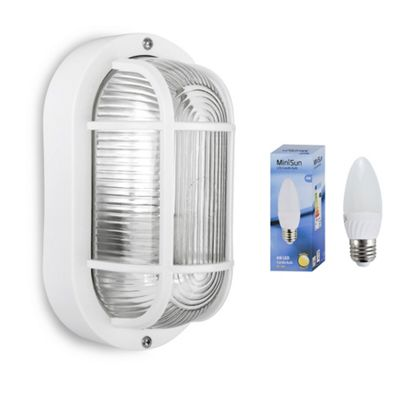 Carnforth IP44 Outdoor LED Security Bulkhead in White with Warm White Bulb