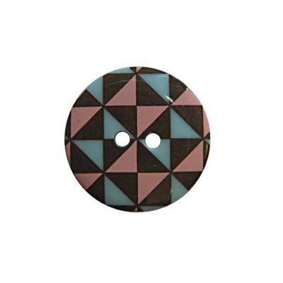 Hemline Bown, Pink & Blue Geometric Fancy Buttons 22.5mm 2pk