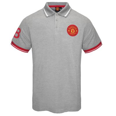 Manchester United FC Mens Polo Shirt Grey Small