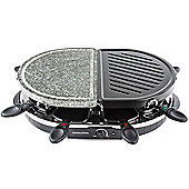 Andrew James 8 Person Half Stone Raclette 1200W with 8 Spatulas